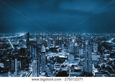 Aerial View Of Sathorn, Bangkok Downtown, Thailand. Financial District And Business Centers In Smart