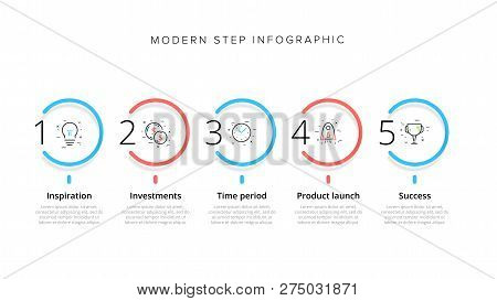 Business Process Chart Infographics With 5 Step Circles. Circular Corporate Workflow Graphic Element