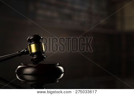Gavel. Auction And Business Concept.  Gavel In The Lawyer Library.
