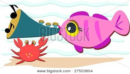 Fish Playing a Horn
