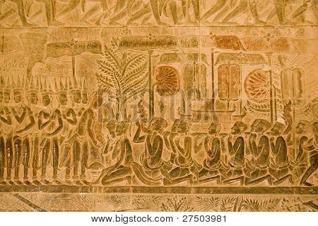 Hindu Heaven, bas relief, Angkor Wat