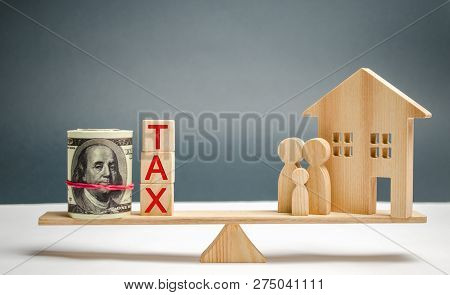 Wooden House And Family With The Inscription