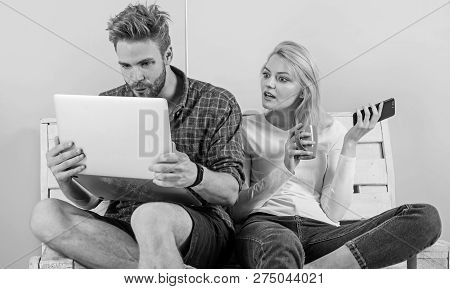 Couple Surfing Internet Posting Content Social Network. Shocking Content. Couple Content Creators Wo