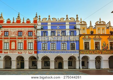Great Market Square, Zamosc, Poland - September, 21, 2018: Multicolored Facades Of Historic Building