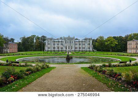 Plunge Park, Plunge, Lithuania. - September, 26, 2018: Manor House, Palace With Park Of Duke Oginski