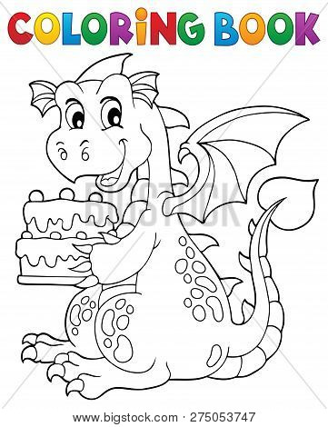 Coloring Book Dragon Holding Cake 1 - Eps10 Vector Picture Illustration.