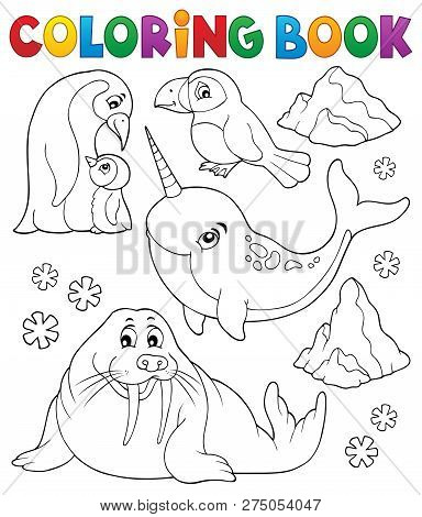 Coloring Book Winter Animals Topic 1 - Eps10 Vector Picture Illustration.