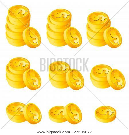 Stack Gold Dollar Coins