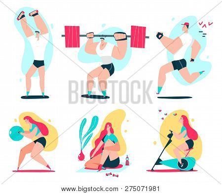 Fitness Man And Woman Doing Exercise. Couple Workout Vector Cartoon Illustration Isolated On A White