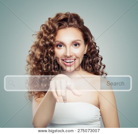 Young Woman Student Pointing To Empty Address Bar In Virtual Web Browser. Seo, Internet Marketing, W