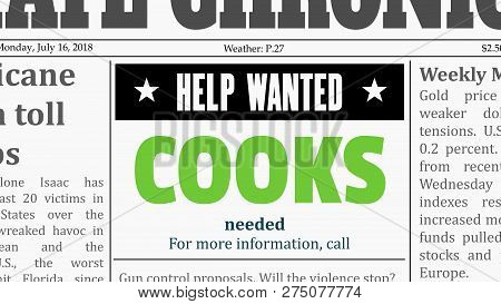 Cooks Job Offer - Restaurant Career. Newspaper Classified Ad In Fake Generic Newspaper.