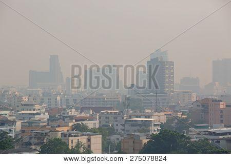 Office Building Under Smog In Bangkok