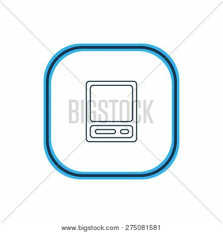 Illustration Of Vintage Computer Icon Line. Beautiful Notebook Element Also Can Be Used As Pda Icon