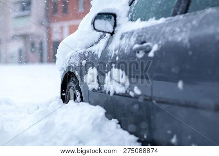 Frozen Car Covered Snow At Winter Day, Background