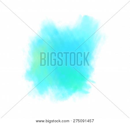 Hand Drawn Colorful Digital Spot On Isolated White. Colored Aquarelle Blotch. Watercolour Splotch. P