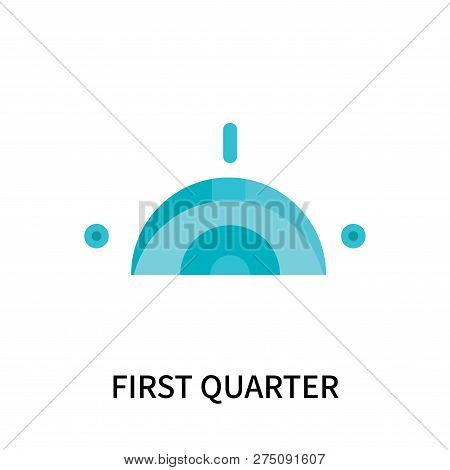 First Quarter Icon Isolated On White Background. First Quarter Icon Simple Sign. First Quarter Icon