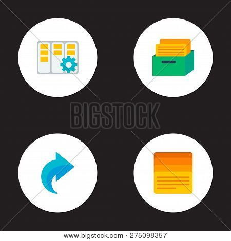 Set Of Project Icons Flat Style Symbols With Task Box, Task Manager, Task List And Other Icons For Y