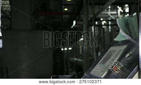 Control Panel For The Production Line. Manufacture Of Plastic Water Pipes Factory. Process Of Making