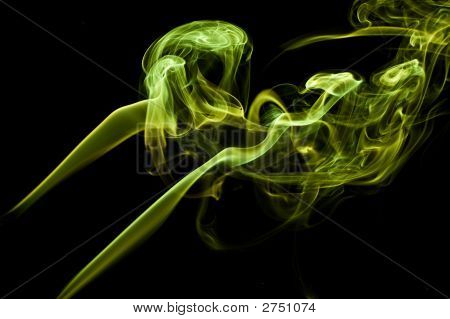 yellow smoke isolated on black copy space poster
