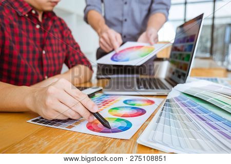 Team Of Creative Graphic Designer Meeting Working On New Project, Choose Selection Color And Drawing