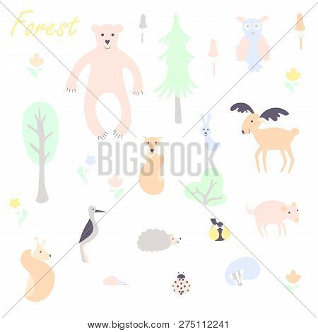 Cute Animal And Plant Forest Vector Color Characters Set. Sketch Fox, Rabbit, Hare, Bear, Fir Tree,