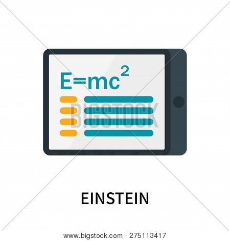 poster of Einstein icon isolated on white background. Einstein icon simple sign. Einstein icon trendy and modern symbol for graphic and web design. Einstein icon flat vector illustration for logo, web, app, UI.