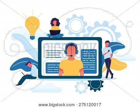 Vector Illustration Concept Of Young People Use Online Technical Support. Customer Service, Male Hot