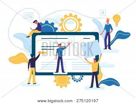 Flat Vector Illustration Of Small People Are Working Together On Creating A Site Design On Computer