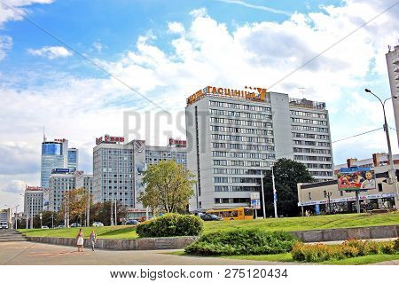 Minsk, Belarus-august 13, 2018: Buildings On Pobediteley Avenue, Which Is One Of The Main Highways O