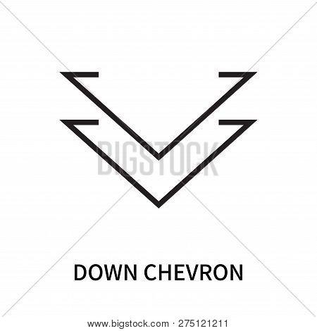 Down Chevron Icon Isolated On White Background. Down Chevron Icon Simple Sign. Down Chevron Icon Tre