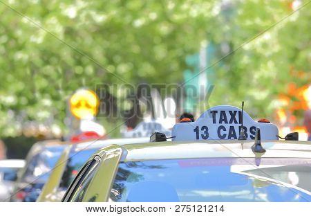 Melbourne Australia - November 30, 2018: Taxis Wait For Passengers In Downtown Melbourne Australia