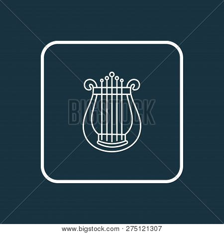 Harp Icon Line Symbol. Premium Quality Isolated Lyre Element In Trendy Style.