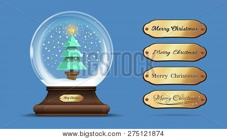 Snow Globe With A A Christmas Tree Inside. Glass Sphere On An Elegant Wooden Stand With Interchangea