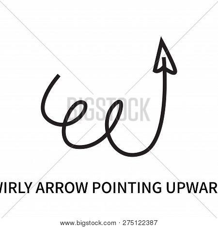 Swirly Arrow Pointing Upwards Icon Isolated On White Background. Swirly Arrow Pointing Upwards Icon