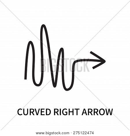 Curved Right Arrow Icon Isolated On White Background. Curved Right Arrow Icon Simple Sign. Curved Ri