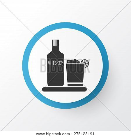 Liqueur Icon Symbol. Premium Quality Isolated Whiskey With Ice Element In Trendy Style.