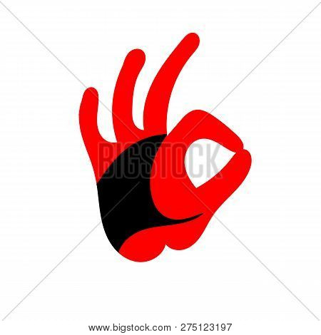 Ok Hand Sign. Design Of The Head Of A Rooster. Cock. Abstract Rooster Logo, Cock Icon. Red Fire Roos