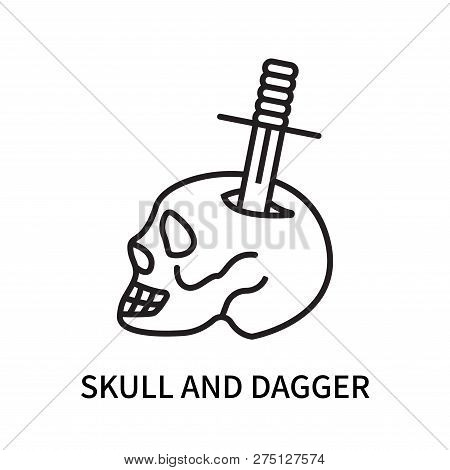 Skull And Dagger Icon Isolated On White Background. Skull And Dagger Icon Simple Sign. Skull And Dag