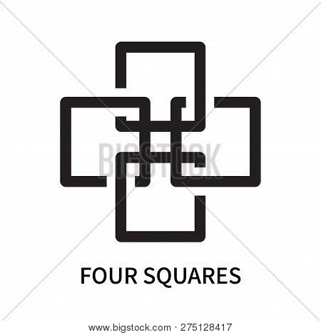 Four Squares Icon Isolated On White Background. Four Squares Icon Simple Sign. Four Squares Icon Tre