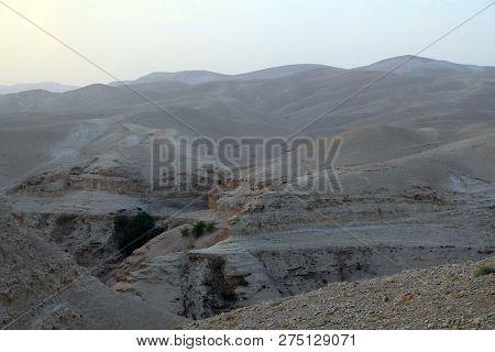 Sunset In Valley Kelt In Judea Desert