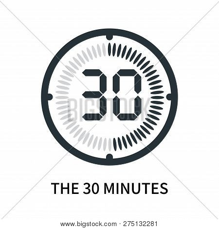 The 30 Minutes Icon Isolated On White Background. The 30 Minutes Icon Simple Sign. The 30 Minutes Ic