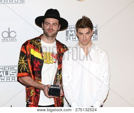 LOS ANGELES - NOV 20:  Alex Pall, Andrew Taggart, The Chainsmokers at the 2016 American Music Awards - Press Room at Microsoft Theater on November 20, 2016 in Los Angeles, CA
