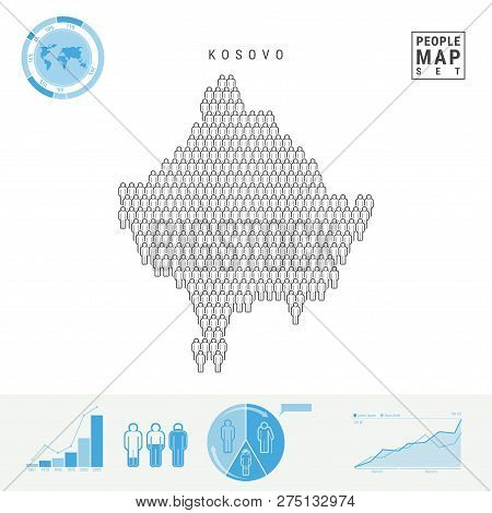Kosovo People Icon Map. People Crowd in the Shape of a Map of Kosovo. Stylized Silhouette of Kosovo. Population Growth and Aging Infographic Elements. Vector Illustration Isolated on White. poster