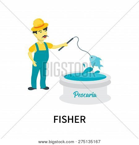 Fisher Icon Isolated On White Background. Fisher Icon Simple Sign. Fisher Icon Trendy And Modern Sym