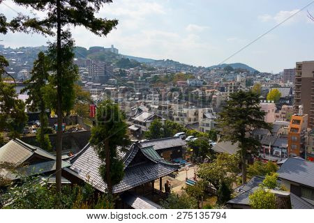 Nagasaki, Japan - October 24, 2018: View over Nagasaki city from the Sofukuji Temple grounds