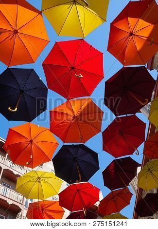 Umbrellas Street Decoration In Quebec City, Canada.