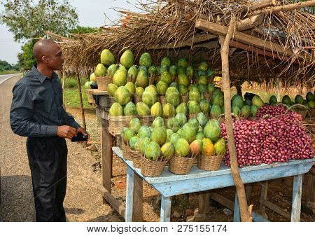 Man Buys Fruits On A Street Market. Mango And Red Onion For A Sale. African Market Stall. Organic Fo