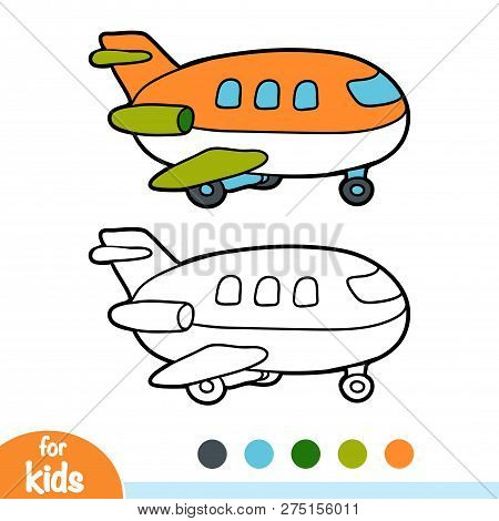 Coloring Book For Children, Vector Cartoon Airplane