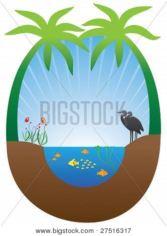 Concept of self sustained ecosystem with pond plants and animals poster