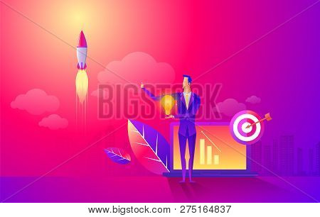 Start Rocket Ship In A Flat Style. Business Startup Work Moments Flat Banner. New Ideas, Search For